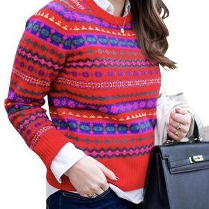 Women's Medium J. Crew 100% Wool Red Sweater NEW!